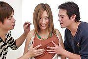 MILF japanese av star Aika creamed in a threesome Photo 1