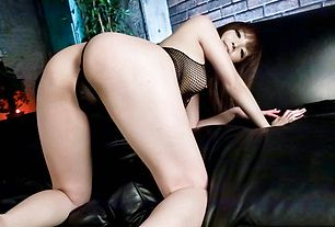 Riona Suzune massaged with a vibrator in see thru lingerie