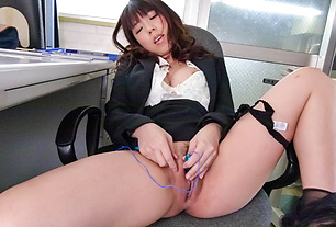 Hot Japanese milf goes dirty at work and sucks cock