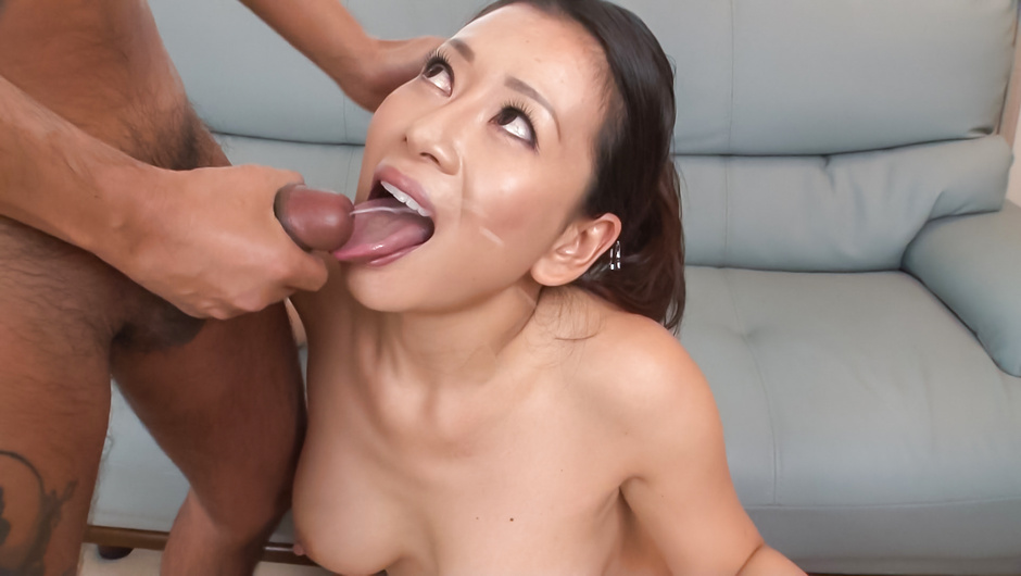 Wife provides Asian blowjob after good toy solo