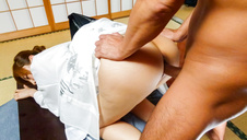 A japanese cum shot after being fucked by two guys