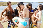 Outdoor Asian gangbang sex adventure for hot babes  Photo 5
