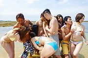 Outdoor Asian gangbang sex adventure for hot babes  Photo 6