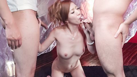 Japanese blowjob ends with cum in mouth for Eri Inoue