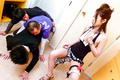 Ann Yabuki gives an asian blow job to two in the kitchen