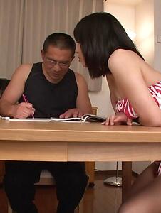 Mikan Kururugi - Cock sucking Asian girl deals men in threesome  - Screenshot 5