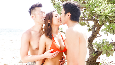 Airi Minami - Asian beauty enjoys serious threesome Asian fuck  - Picture 3