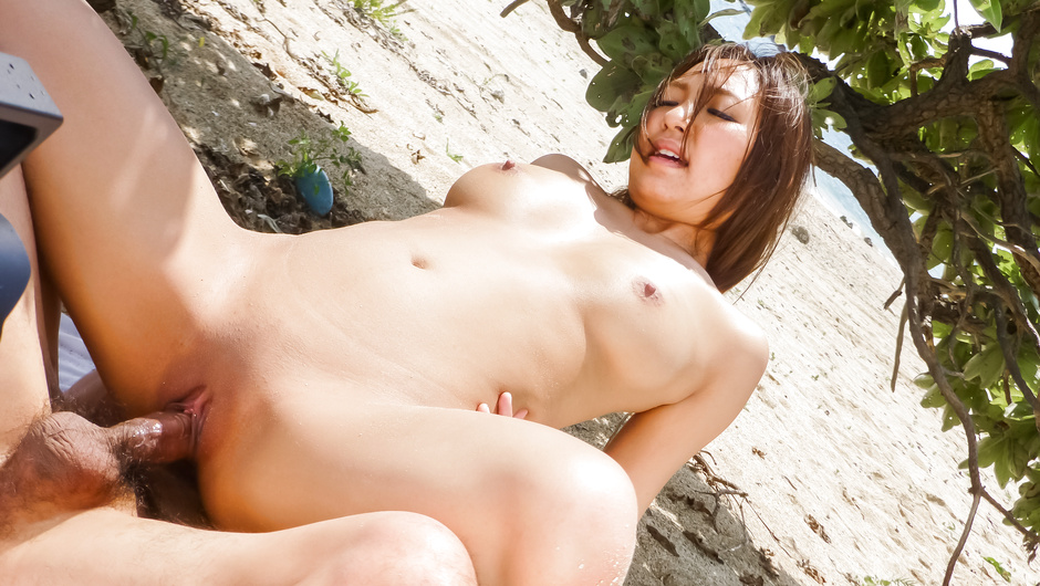 Japanese av girl gets shared in outdoor trio