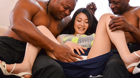Kyoko Nakajima - Amateur Japanese babe gets hard fucked by two males - Picture 1