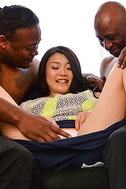 Kyoko Nakajima - Amateur Japanese babe gets hard fucked by two males - Picture 2