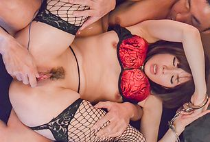 Asian lingerie babe hard fucked and made to swallow
