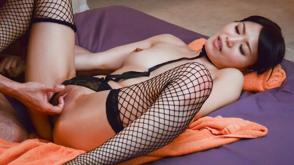 Sensual woman remains only in her Asian stockings