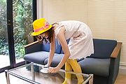 Curvy Teen Naho Kojima In Yellow Stockings Creamed Photo 2