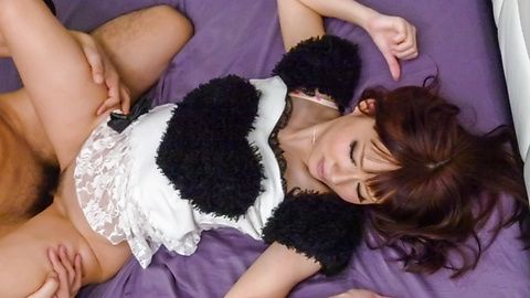 Sexy maid Yurika Miyachi gives double blow jobs indoors
