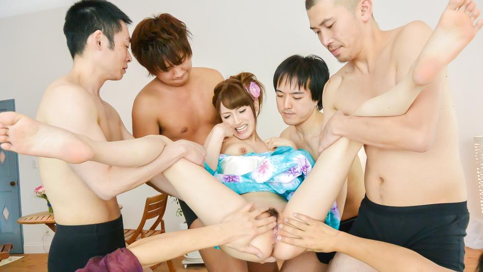 Perfect Asian gangbang for steamy Japan babe, Karin Aizawa