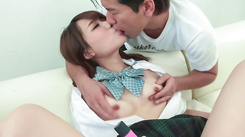 Nana Fujii - Schoolgirl Nana Fujii Asian blow jobs on cam  - Picture 11