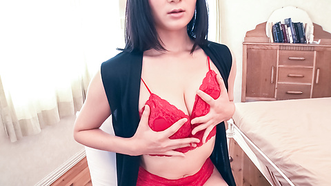 Chie Aoi - Brunette in red lingerie amazing Asian amateur solo - Picture 3