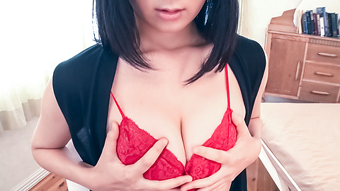 Chie Aoi - Brunette in red lingerie amazing Asian amateur solo - Picture 4