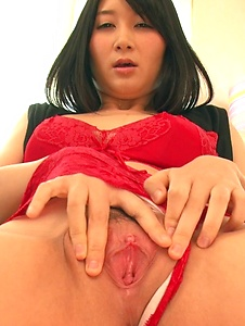Chie Aoi - Brunette in red lingerie amazing Asian amateur solo - Screenshot 10