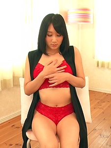 Chie Aoi - Brunette in red lingerie amazing Asian amateur solo - Screenshot 2
