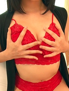 Chie Aoi - Brunette in red lingerie amazing Asian amateur solo - Screenshot 3