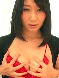 Chie Aoi - Brunette in red lingerie amazing Asian amateur solo - Screenshot 5