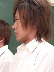 Risa Misaki - Sexy teacher goes nasty in Asian creampie gangbang show - Screenshot 3