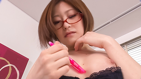 Ruri Haruka - Girl with glasses plays with her warm vag  - Picture 11