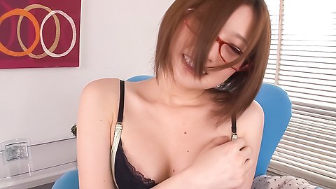 Ruri Haruka - Girl with glasses plays with her warm vag  - Picture 3