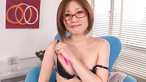 Ruri Haruka - Girl with glasses plays with her warm vag  - Picture 4