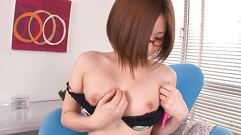 Ruri Haruka - Girl with glasses plays with her warm vag  - Picture 5