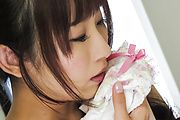 Sensual  Yui Misaki plays with her hairy Asian pussy  Photo 5