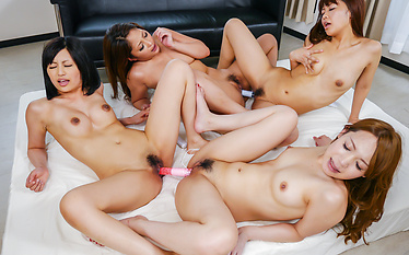 Japanese girls enjoying harsh Asian masturbating session