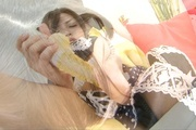 Yurika Gotou plays with her hairy Asian pussy on cam Photo 3