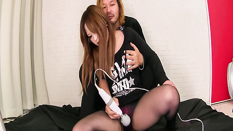 Aya Nanjo - Sweet babe in sexy pantyhose amazes with Japanese blowjobs - Picture 1