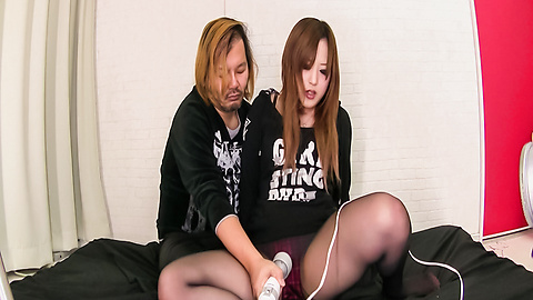 Aya Nanjo - Sweet babe in sexy pantyhose amazes with Japanese blowjobs - Picture 2