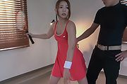 Japanese av model deals two cocks on cam  Photo 2