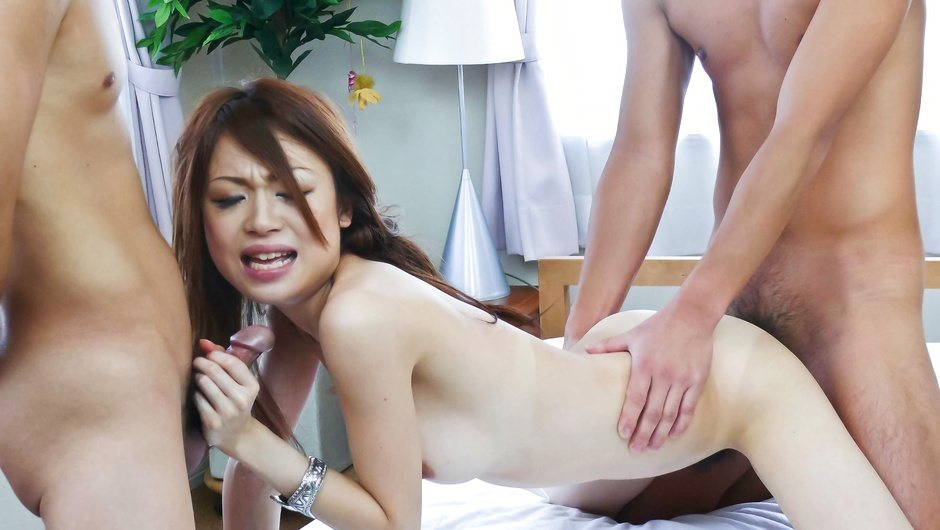 Two Guys Ram Sara Seori's Holes In DP Action