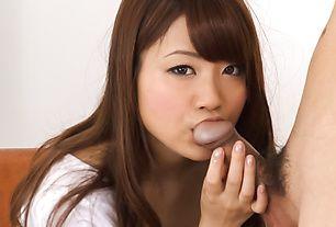 Mayuka Akimoto ends up providing Asian blowjob in hot modes
