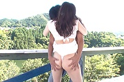 Nude babe Japanese gangbang with two males  Photo 6