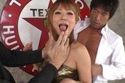 Blond porn star Kokoa Ayane giving head and boned Photo 10