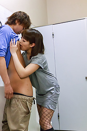 Riho Mikami - Sweet Riho Mikami kneels to provide Japanese blow job  - Picture 12