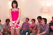 Brunette Japanese babe Asan gangbang on cam Photo 11