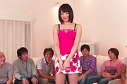 Brunette Japanese babe Asan gangbang on cam Photo 12