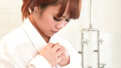 Anju Akane - Busty Anju Akane steps out of the shower and sucks cock  - Picture 6