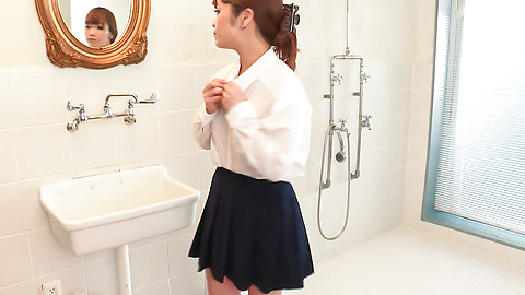 Anju Akane - Busty Anju Akane steps out of the shower and sucks cock  - Picture 7