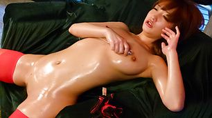 Oiled up Sana Anzyu gives a hot asian blowjob