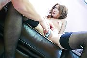Naughty Luna sucks a hard cock in japanese stockings Photo 12
