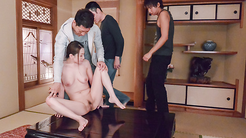 Tsubasa Takanashi - Busty milf provides Japan blowjob on two dicks  - Picture 10