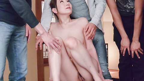 Tsubasa Takanashi - Busty milf provides Japan blowjob on two dicks  - Picture 12